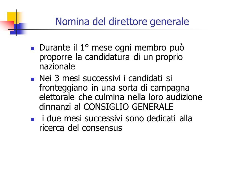 Nomina del direttore generale Durante il 1° mese ogni membro può proporre la candidatura di un proprio nazionale Nei 3 mesi successivi i candidati si