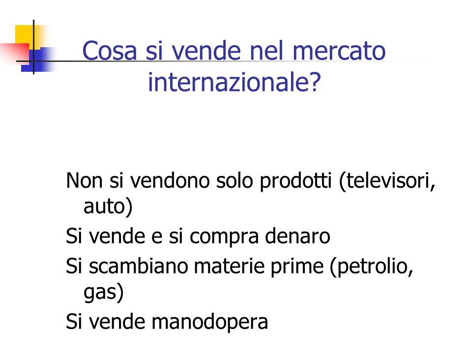 Cosa si vende nel mercato internazionale? Non si vendono solo prodotti (televisori, auto) Si vende e si compra denaro Si scambiano materie prime (petr
