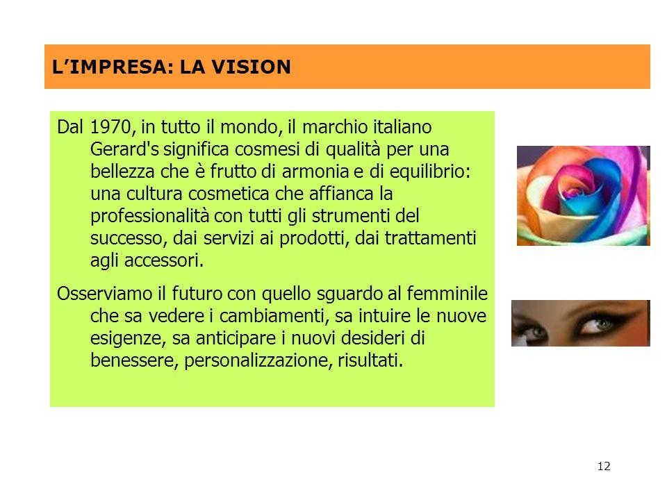 12 LIMPRESA: LA VISION Dal 1970, in tutto il mondo, il marchio italiano Gerard's significa cosmesi di qualità per una bellezza che è frutto di armonia