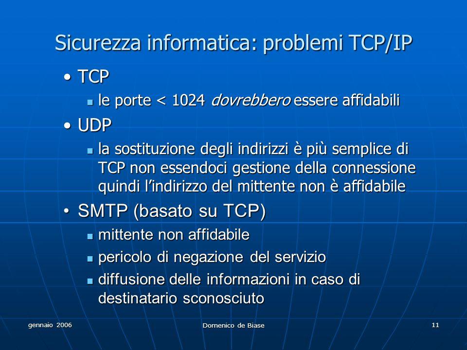 gennaio 2006 Domenico de Biase 11 Sicurezza informatica: problemi TCP/IP TCPTCP le porte < 1024 dovrebbero essere affidabili le porte < 1024 dovrebbero essere affidabili UDPUDP la sostituzione degli indirizzi è più semplice di TCP non essendoci gestione della connessione quindi lindirizzo del mittente non è affidabile la sostituzione degli indirizzi è più semplice di TCP non essendoci gestione della connessione quindi lindirizzo del mittente non è affidabile SMTP (basato su TCP)SMTP (basato su TCP) mittente non affidabile mittente non affidabile pericolo di negazione del servizio pericolo di negazione del servizio diffusione delle informazioni in caso di destinatario sconosciuto diffusione delle informazioni in caso di destinatario sconosciuto