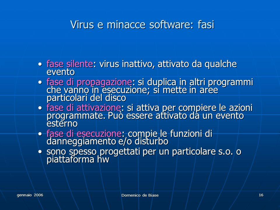 gennaio 2006 Domenico de Biase 16 Virus e minacce software: fasi fase silente: virus inattivo, attivato da qualche eventofase silente: virus inattivo,