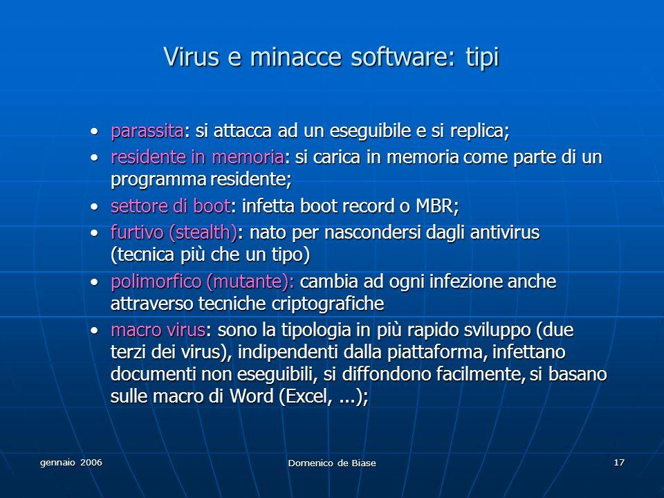 gennaio 2006 Domenico de Biase 17 Virus e minacce software: tipi parassita: si attacca ad un eseguibile e si replica;parassita: si attacca ad un esegu