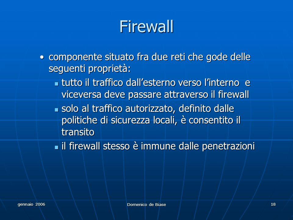 gennaio 2006 Domenico de Biase 18 Firewall componente situato fra due reti che gode delle seguenti proprietà:componente situato fra due reti che gode