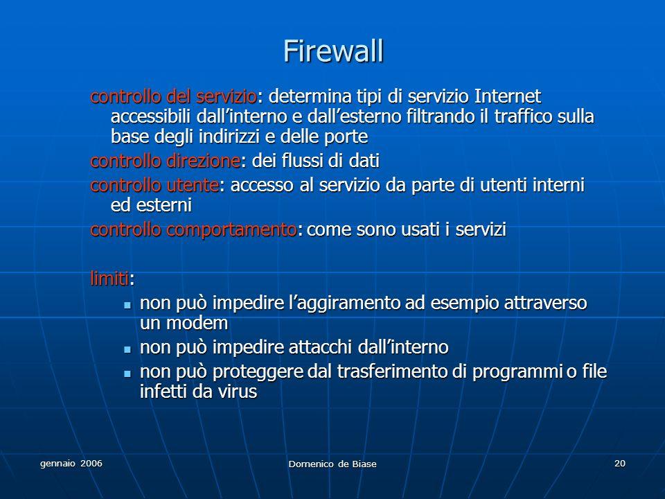 gennaio 2006 Domenico de Biase 20 Firewall controllo del servizio: determina tipi di servizio Internet accessibili dallinterno e dallesterno filtrando