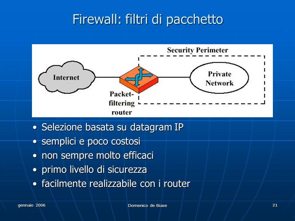 gennaio 2006 Domenico de Biase 21 Firewall: filtri di pacchetto Selezione basata su datagram IP semplici e poco costosi non sempre molto efficaci primo livello di sicurezza facilmente realizzabile con i router