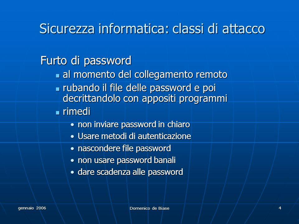 gennaio 2006 Domenico de Biase 4 Sicurezza informatica: classi di attacco Furto di password al momento del collegamento remoto al momento del collegam