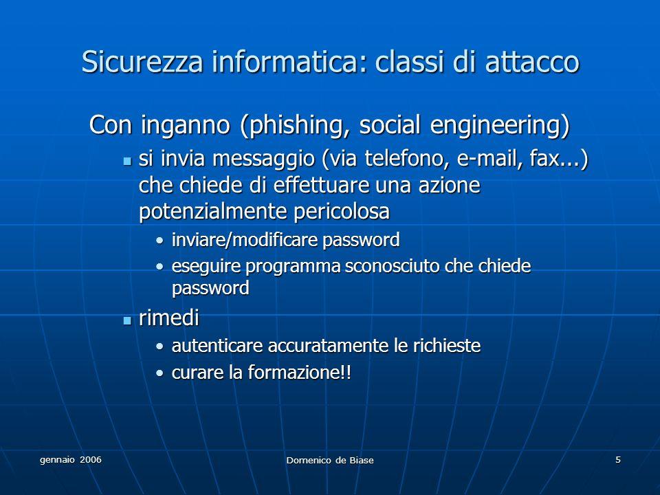 gennaio 2006 Domenico de Biase 5 Sicurezza informatica: classi di attacco Con inganno (phishing, social engineering) si invia messaggio (via telefono,