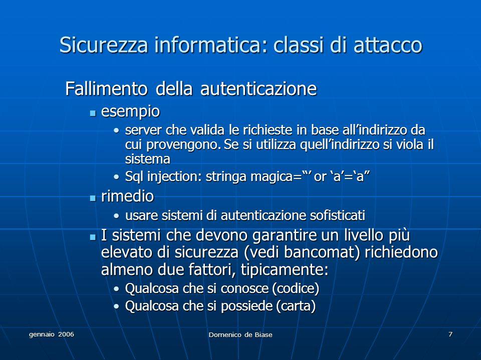 gennaio 2006 Domenico de Biase 7 Sicurezza informatica: classi di attacco Fallimento della autenticazione esempio esempio server che valida le richies