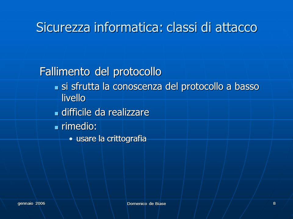 gennaio 2006 Domenico de Biase 8 Sicurezza informatica: classi di attacco Fallimento del protocollo si sfrutta la conoscenza del protocollo a basso li