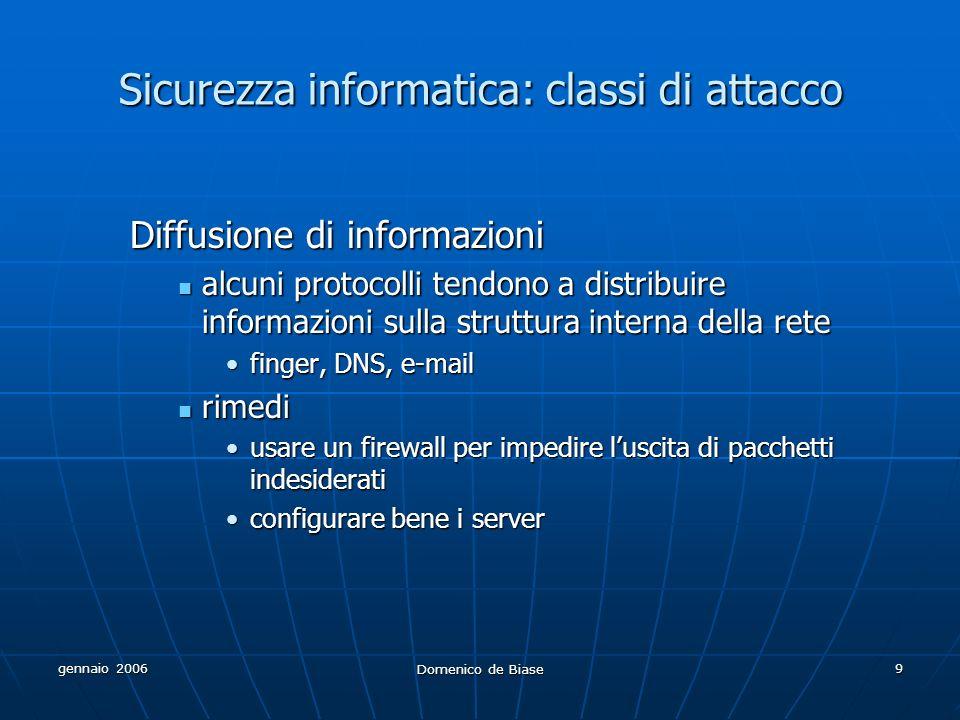 gennaio 2006 Domenico de Biase 9 Sicurezza informatica: classi di attacco Diffusione di informazioni alcuni protocolli tendono a distribuire informazi