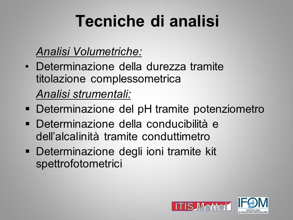 Tecniche di analisi Analisi Volumetriche: Determinazione della durezza tramite titolazione complessometrica Analisi strumentali: Determinazione del pH