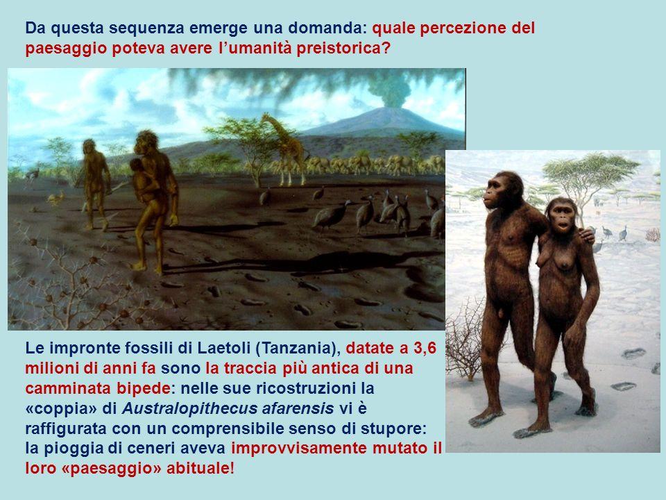 Da questa sequenza emerge una domanda: quale percezione del paesaggio poteva avere lumanità preistorica? Le impronte fossili di Laetoli (Tanzania), da