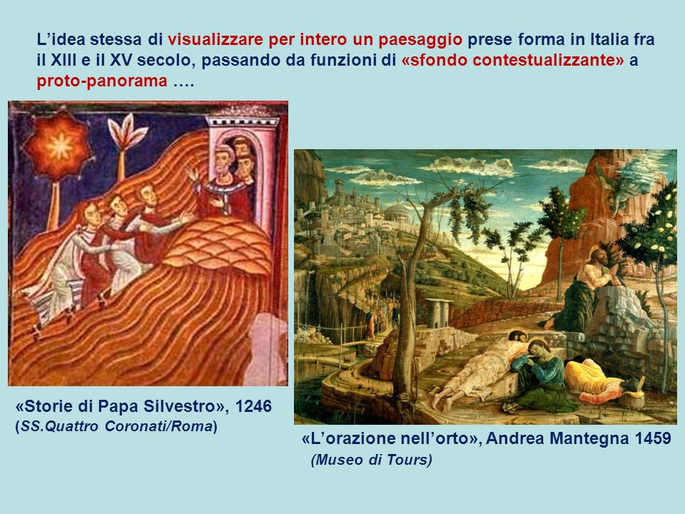 «Lorazione nellorto», Andrea Mantegna 1459 (Museo di Tours) «Storie di Papa Silvestro», 1246 (SS.Quattro Coronati/Roma) Lidea stessa di visualizzare p