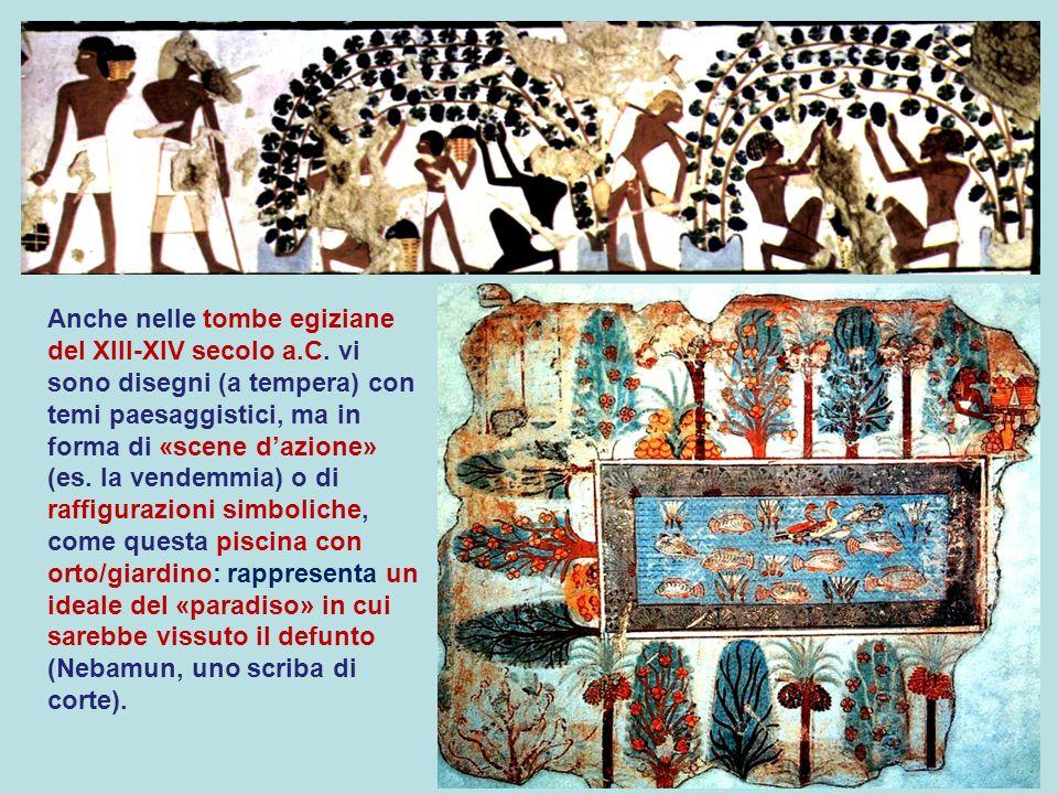 Anche nelle tombe egiziane del XIII-XIV secolo a.C. vi sono disegni (a tempera) con temi paesaggistici, ma in forma di «scene dazione» (es. la vendemm