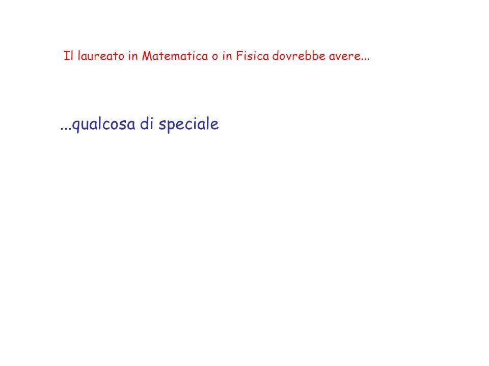 Il laureato in Matematica o in Fisica dovrebbe avere......qualcosa di speciale Ma non intendo QUESTO...