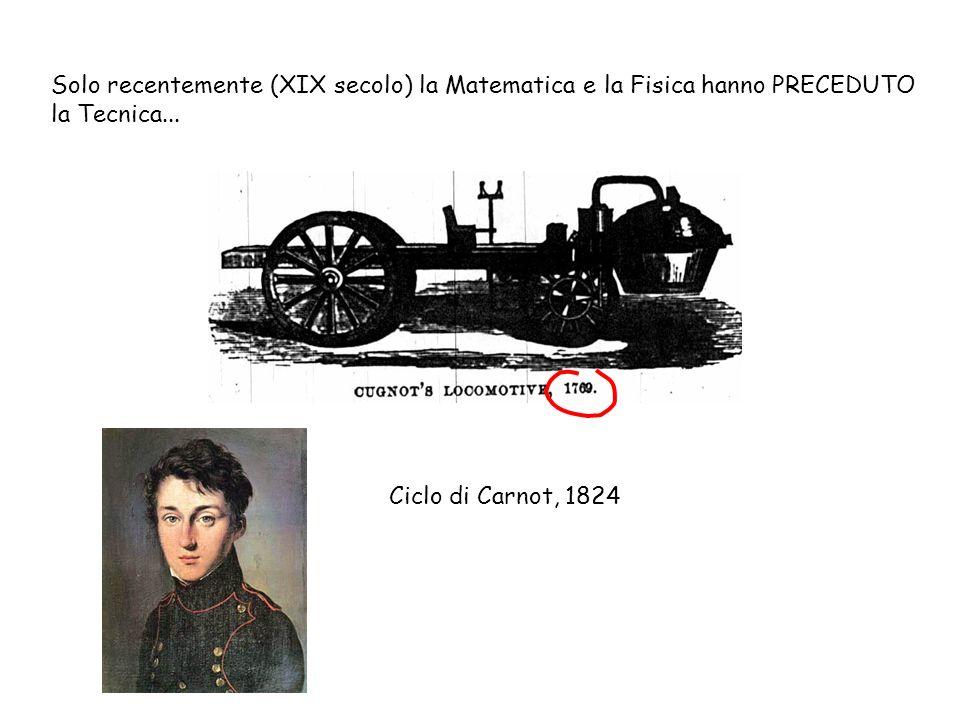 Solo recentemente (XIX secolo) la Matematica e la Fisica hanno PRECEDUTO la Tecnica...