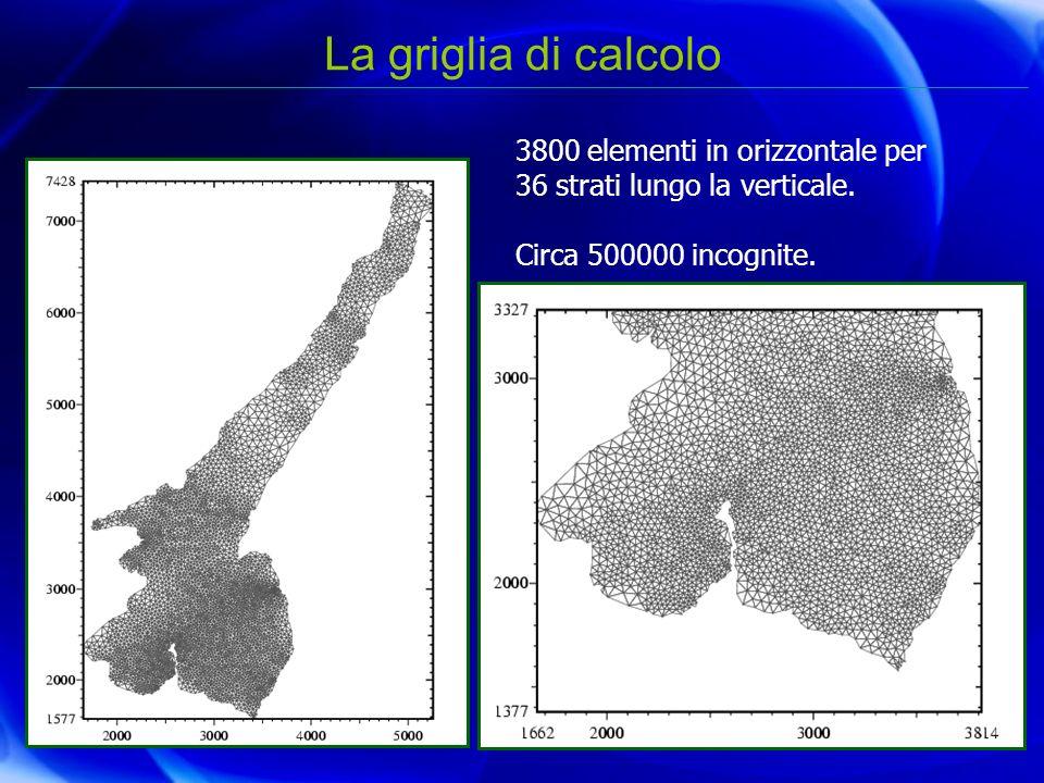 La griglia di calcolo 3800 elementi in orizzontale per 36 strati lungo la verticale. Circa 500000 incognite.