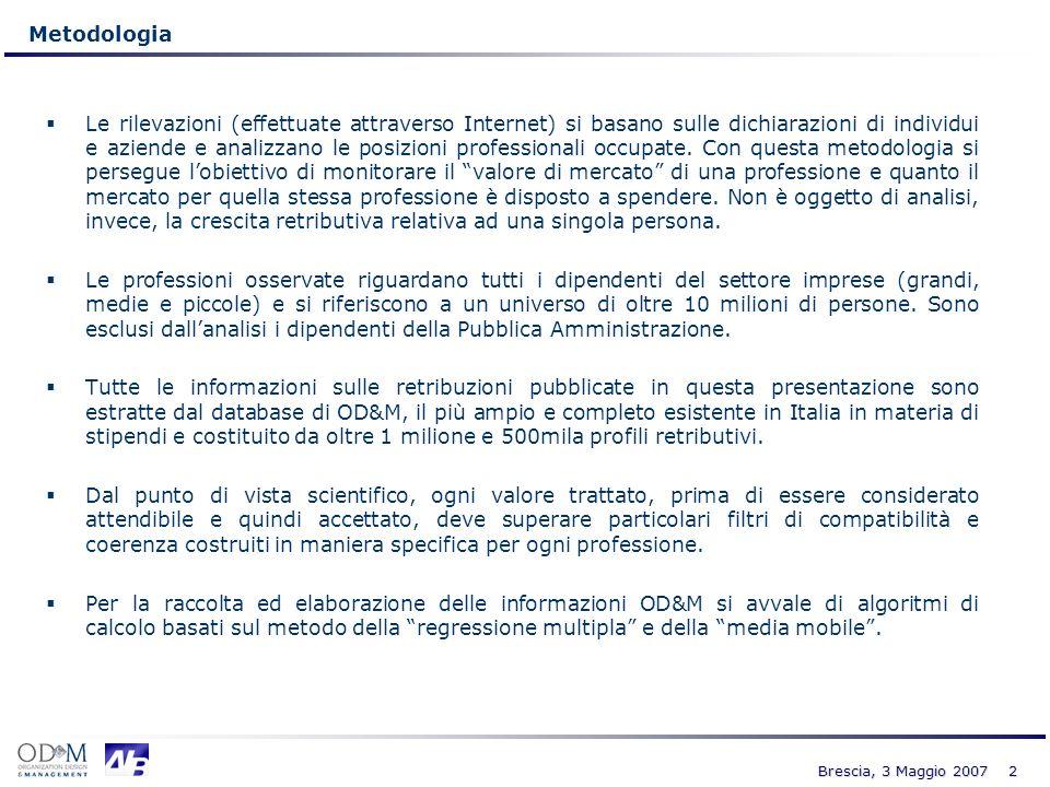 3 Brescia, 3 Maggio 2007 1.575.210 buste paga analizzate, 28.342 a Brescia Il Rapporto elabora 1.575.210 profili retributivi (dichiarazioni) di dipendenti privati (dirigenti, quadri, impiegati ed operai) raccolte nellarco degli ultimi 6 anni (2001- 2006).