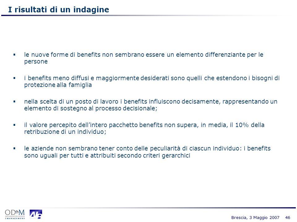 46 Brescia, 3 Maggio 2007 I risultati di un indagine le nuove forme di benefits non sembrano essere un elemento differenziante per le persone i benefi