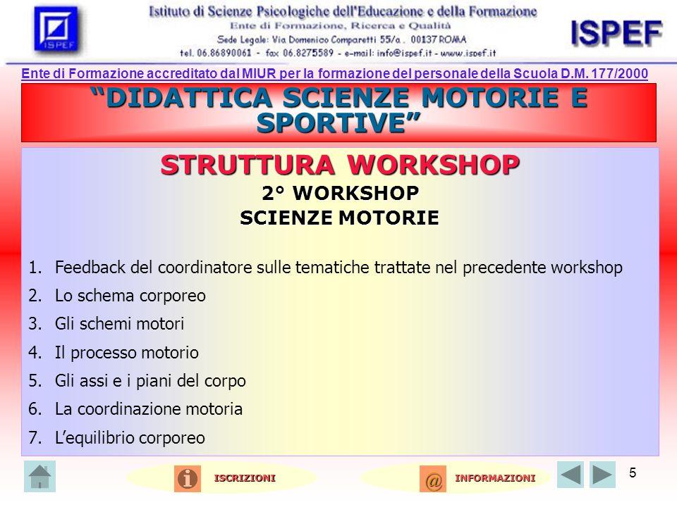 5 DIDATTICA SCIENZE MOTORIE E SPORTIVE STRUTTURA WORKSHOP 2° WORKSHOP SCIENZE MOTORIE 1.Feedback del coordinatore sulle tematiche trattate nel precede