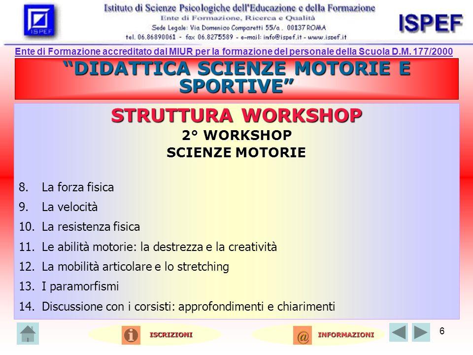 6 DIDATTICA SCIENZE MOTORIE E SPORTIVE STRUTTURA WORKSHOP 2° WORKSHOP SCIENZE MOTORIE 8.La forza fisica 9.La velocità 10.La resistenza fisica 11.Le ab