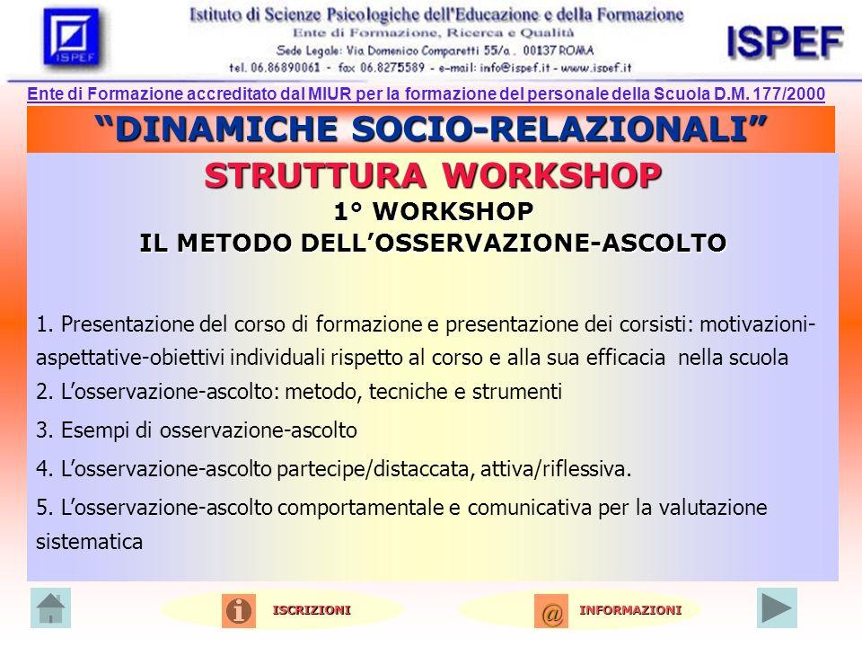 DINAMICHE SOCIO-RELAZIONALI STRUTTURA WORKSHOP 1° WORKSHOP IL METODO DELLOSSERVAZIONE-ASCOLTO 1.