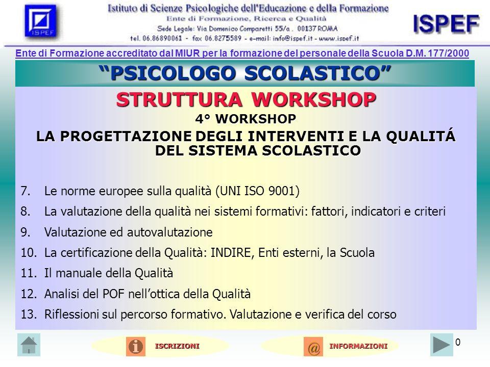 10 PSICOLOGO SCOLASTICO STRUTTURA WORKSHOP 4° WORKSHOP LA PROGETTAZIONE DEGLI INTERVENTI E LA QUALITÁ DEL SISTEMA SCOLASTICO 7.Le norme europee sulla qualità (UNI ISO 9001) 8.La valutazione della qualità nei sistemi formativi: fattori, indicatori e criteri 9.Valutazione ed autovalutazione 10.La certificazione della Qualità: INDIRE, Enti esterni, la Scuola 11.Il manuale della Qualità 12.Analisi del POF nellottica della Qualità 13.Riflessioni sul percorso formativo.
