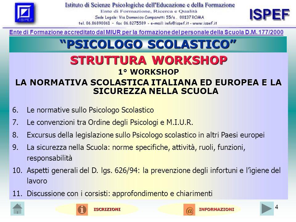 4 PSICOLOGO SCOLASTICO STRUTTURA WORKSHOP 1° WORKSHOP LA NORMATIVA SCOLASTICA ITALIANA ED EUROPEA E LA SICUREZZA NELLA SCUOLA 6.Le normative sullo Psicologo Scolastico 7.Le convenzioni tra Ordine degli Psicologi e M.I.U.R.