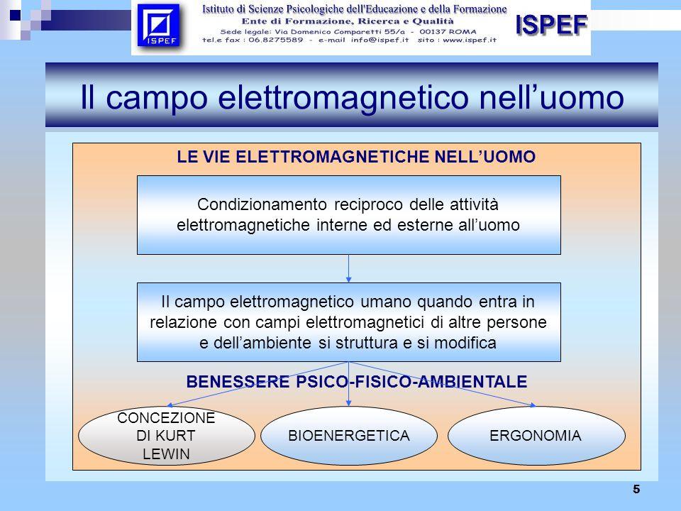 5 Il campo elettromagnetico nelluomo LE VIE ELETTROMAGNETICHE NELLUOMO BENESSERE PSICO-FISICO-AMBIENTALE Condizionamento reciproco delle attività elet