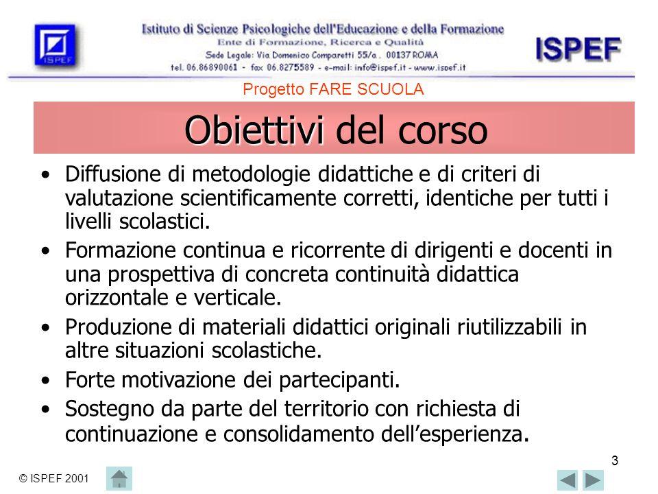 3 Obiettivi Obiettivi del corso Diffusione di metodologie didattiche e di criteri di valutazione scientificamente corretti, identiche per tutti i livelli scolastici.