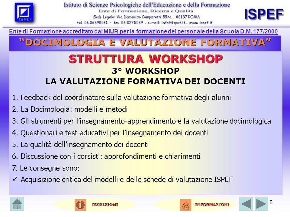 6 DOCIMOLOGIA E VALUTAZIONE FORMATIVA STRUTTURA WORKSHOP 3° WORKSHOP LA VALUTAZIONE FORMATIVA DEI DOCENTI 1.
