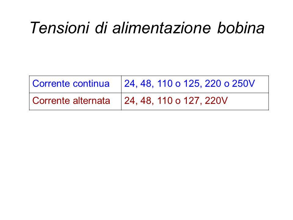 Tensioni di alimentazione bobina Corrente continua24, 48, 110 o 125, 220 o 250V Corrente alternata24, 48, 110 o 127, 220V
