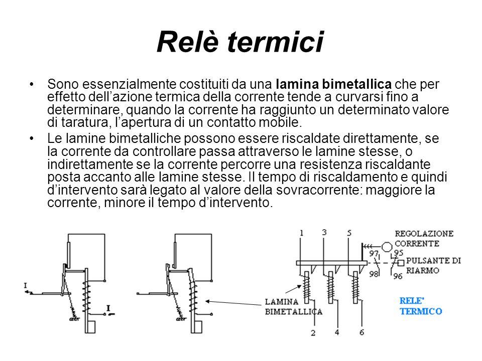 Relè termici Sono essenzialmente costituiti da una lamina bimetallica che per effetto dellazione termica della corrente tende a curvarsi fino a determ