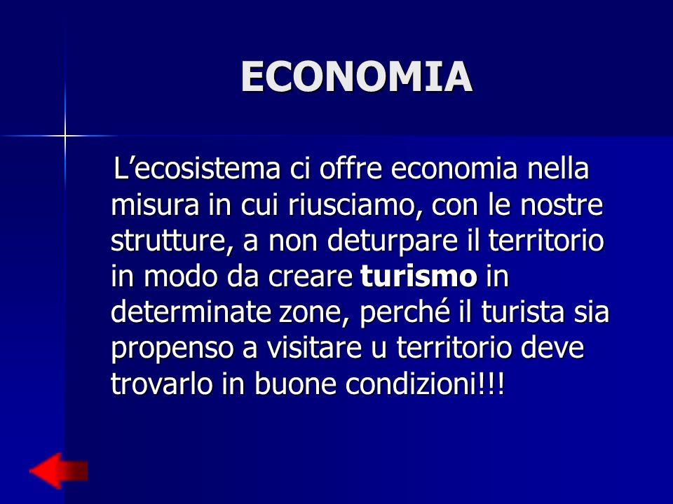 ECONOMIA Lecosistema ci offre economia nella misura in cui riusciamo, con le nostre strutture, a non deturpare il territorio in modo da creare turismo