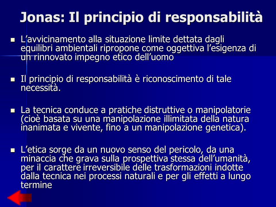 Lavvicinamento alla situazione limite dettata dagli equilibri ambientali ripropone come oggettiva lesigenza di un rinnovato impegno etico delluomo Il principio di responsabilità è riconoscimento di tale necessità.