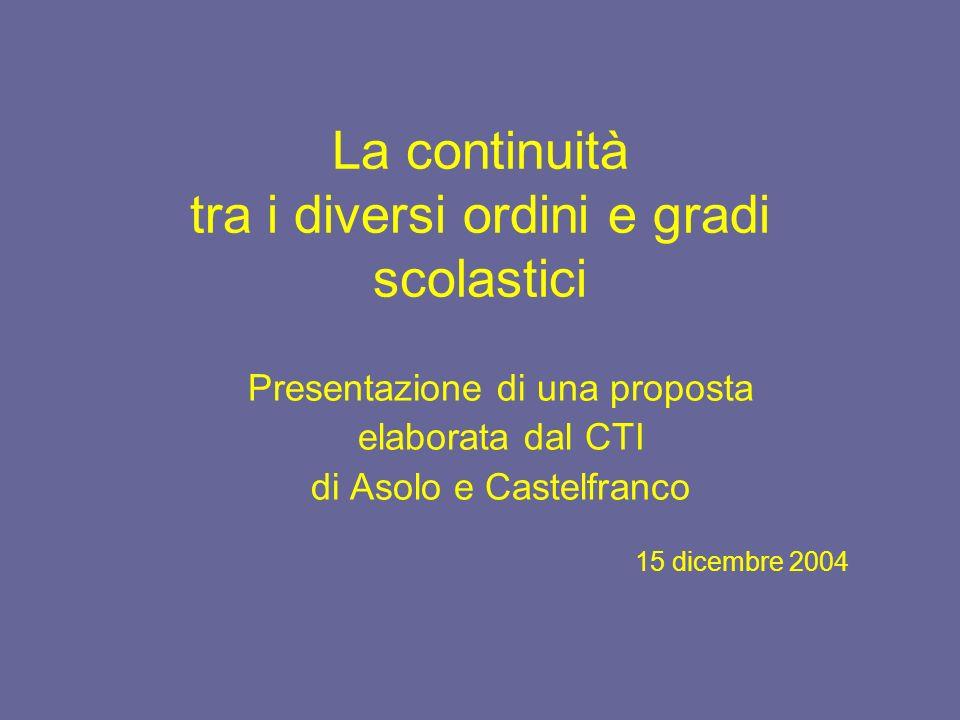 La continuità tra i diversi ordini e gradi scolastici Presentazione di una proposta elaborata dal CTI di Asolo e Castelfranco 15 dicembre 2004