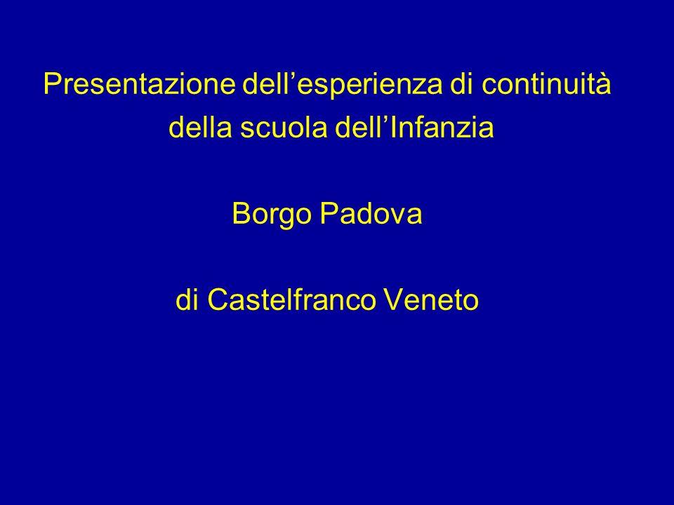 Presentazione dellesperienza di continuità della scuola dellInfanzia Borgo Padova di Castelfranco Veneto