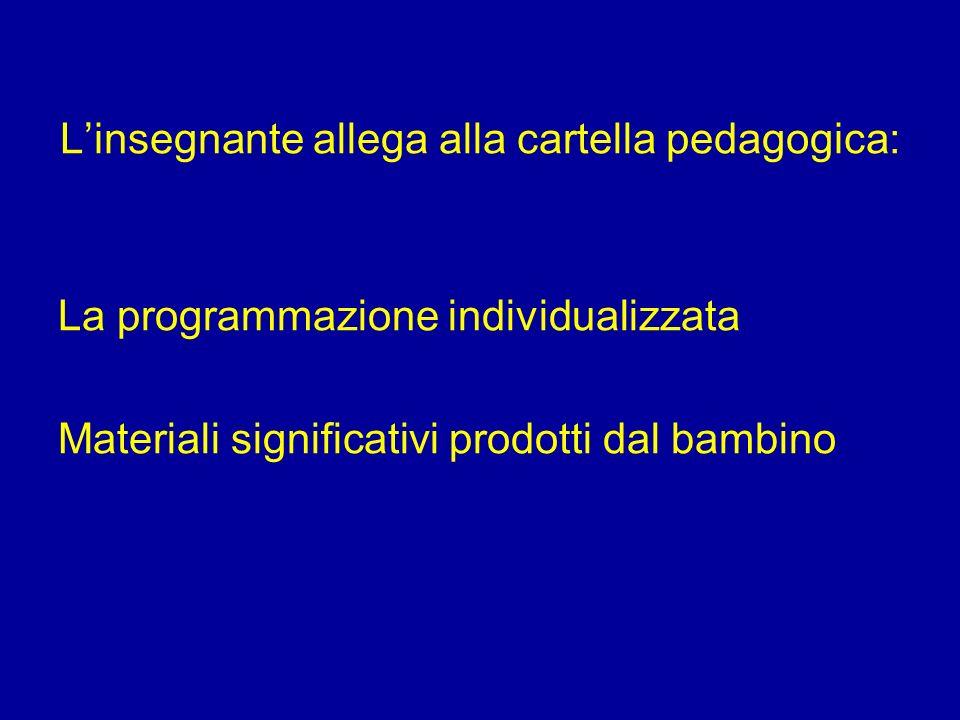Linsegnante allega alla cartella pedagogica: La programmazione individualizzata Materiali significativi prodotti dal bambino
