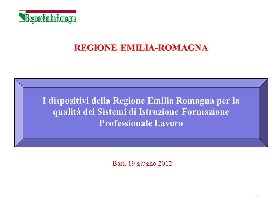 1 I dispositivi della Regione Emilia Romagna per la qualità dei Sistemi di Istruzione Formazione Professionale Lavoro REGIONE EMILIA-ROMAGNA Bari, 19