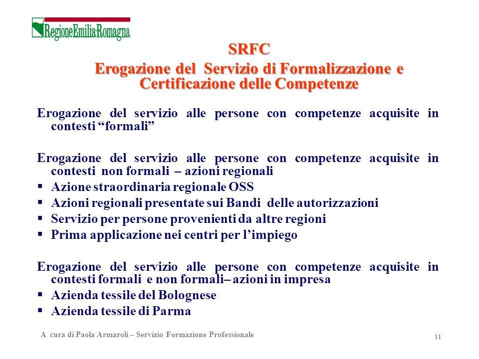 11 Erogazione del servizio alle persone con competenze acquisite in contesti formali Erogazione del servizio alle persone con competenze acquisite in