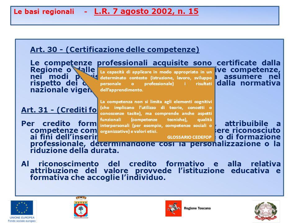 Le basi regionali - L.R. 7 agosto 2002, n. 15 Art.