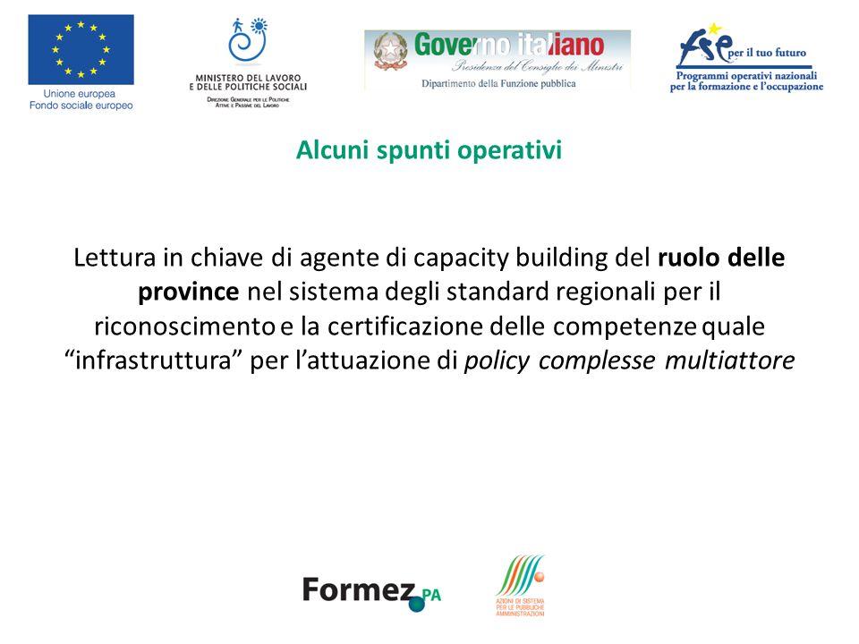 Lettura in chiave di agente di capacity building del ruolo delle province nel sistema degli standard regionali per il riconoscimento e la certificazione delle competenze quale infrastruttura per lattuazione di policy complesse multiattore Alcuni spunti operativi