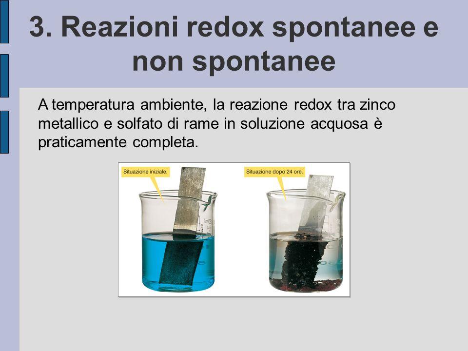 3. Reazioni redox spontanee e non spontanee A temperatura ambiente, la reazione redox tra zinco metallico e solfato di rame in soluzione acquosa è pra