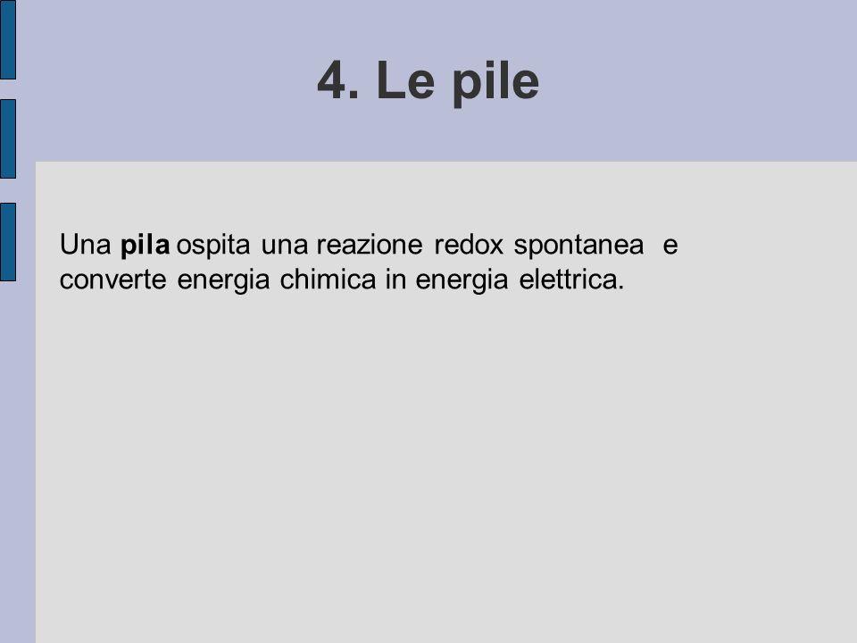 4. Le pile Una pila ospita una reazione redox spontanea e converte energia chimica in energia elettrica.