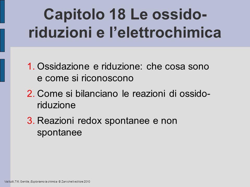 Capitolo 18 Le ossido- riduzioni e lelettrochimica 1.Ossidazione e riduzione: che cosa sono e come si riconoscono 2.Come si bilanciano le reazioni di