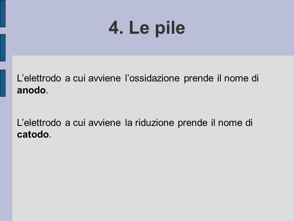 4. Le pile Lelettrodo a cui avviene lossidazione prende il nome di anodo. Lelettrodo a cui avviene la riduzione prende il nome di catodo.