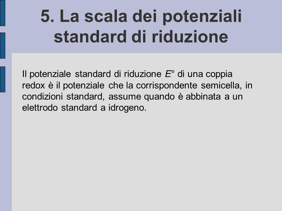 5. La scala dei potenziali standard di riduzione Il potenziale standard di riduzione E° di una coppia redox è il potenziale che la corrispondente semi