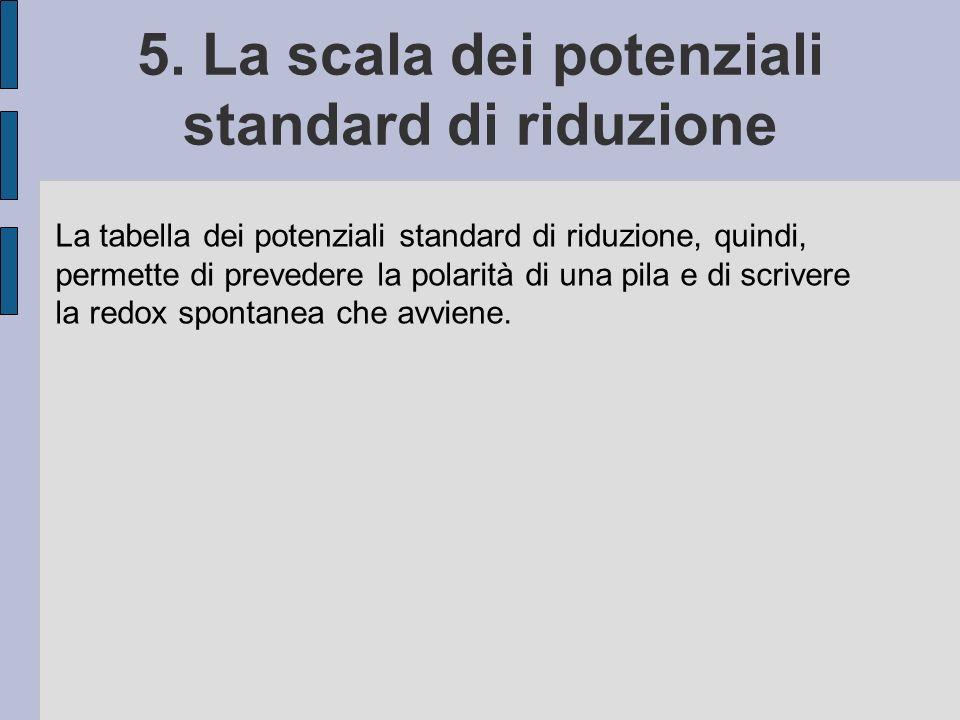 5. La scala dei potenziali standard di riduzione La tabella dei potenziali standard di riduzione, quindi, permette di prevedere la polarità di una pil