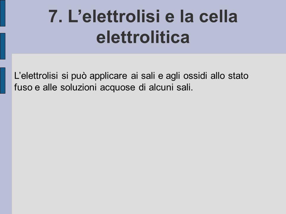 Lelettrolisi si può applicare ai sali e agli ossidi allo stato fuso e alle soluzioni acquose di alcuni sali.