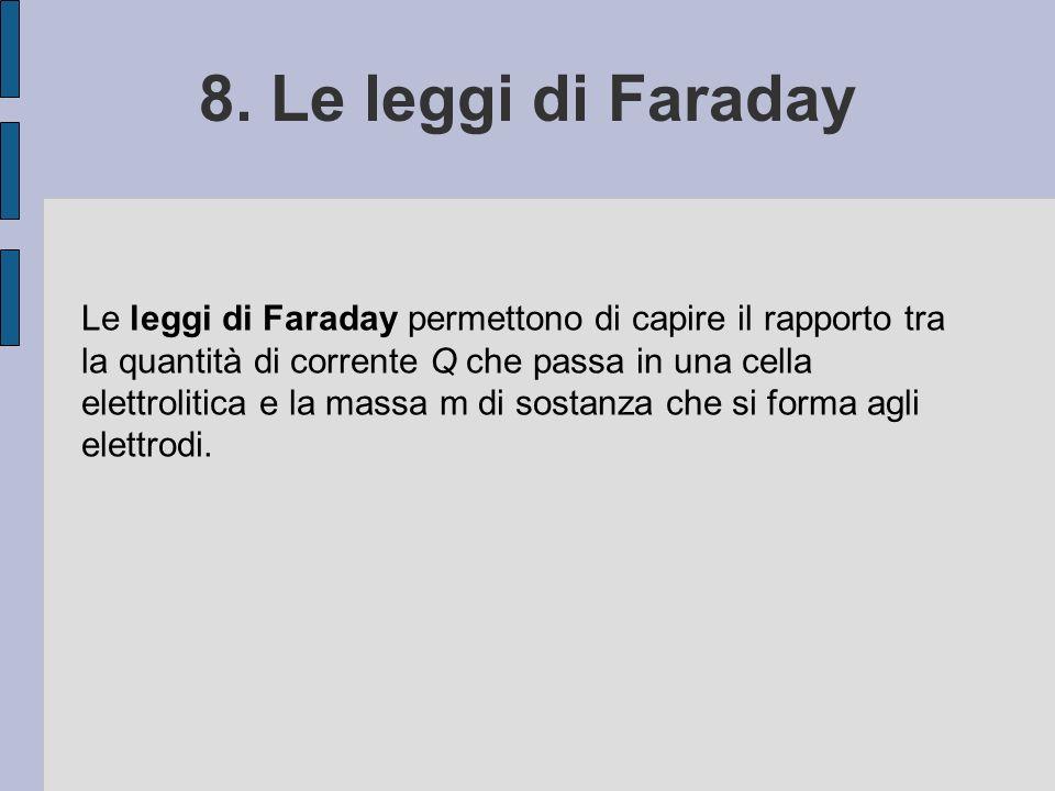 8. Le leggi di Faraday Le leggi di Faraday permettono di capire il rapporto tra la quantità di corrente Q che passa in una cella elettrolitica e la ma